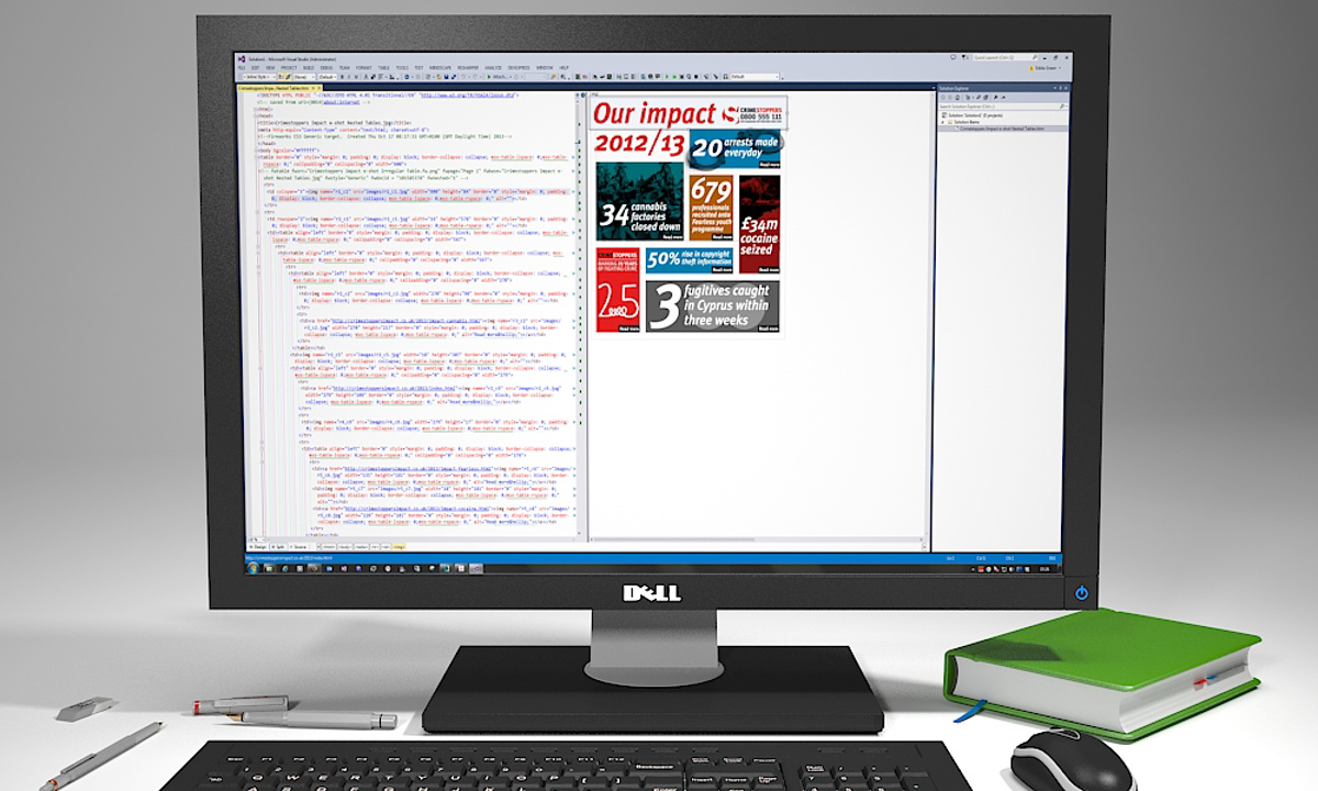 Crimestoppers Email - Previewing the coding of HTML layout during production