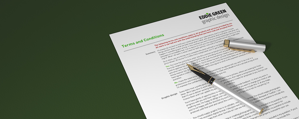 Terms and Conditions - 3D visualisation of a printout the first page of my standard terms and conditions, rendered in 3DS Max and Vray