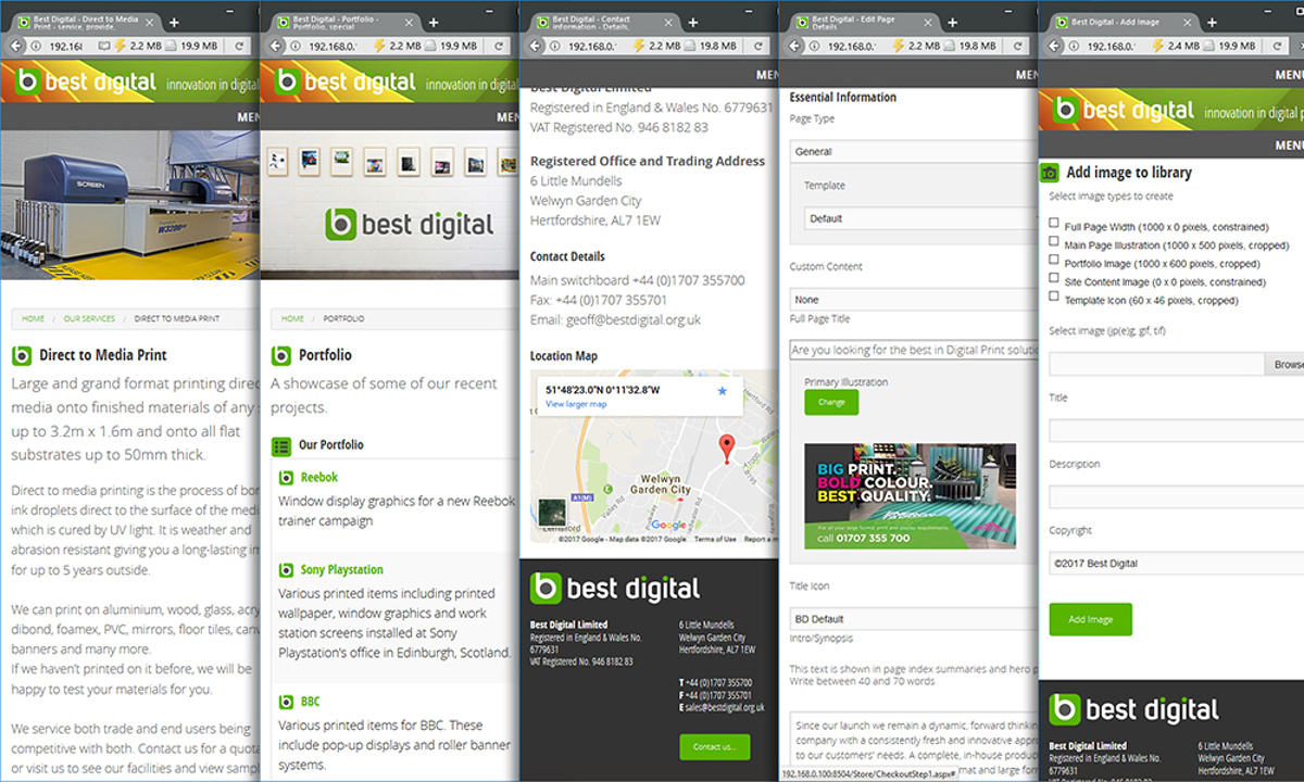 Best Digital - A series of screenshots at mobile phone sizes. Images are reformatted automatically by internal code and style sheets to display perfectly on smaller screens.