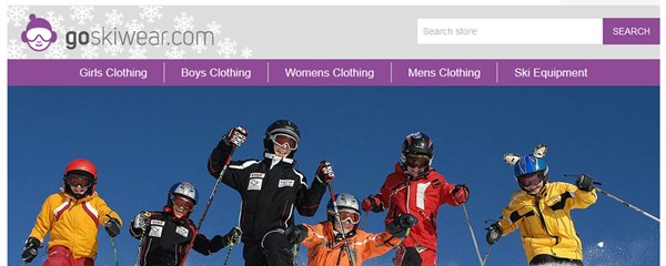 Go Skiwear - Screenshot of the masthead and home page hero panel, showing the branding, and the overall look and feel created for the brand