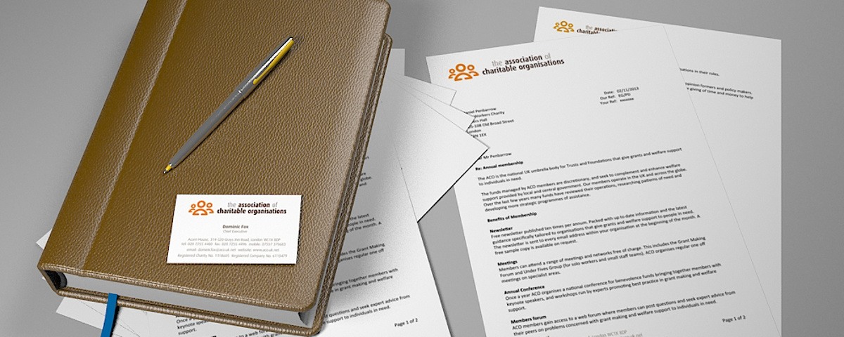 ACO Stationery - Branding design applied to stationery items including letterhead and business card