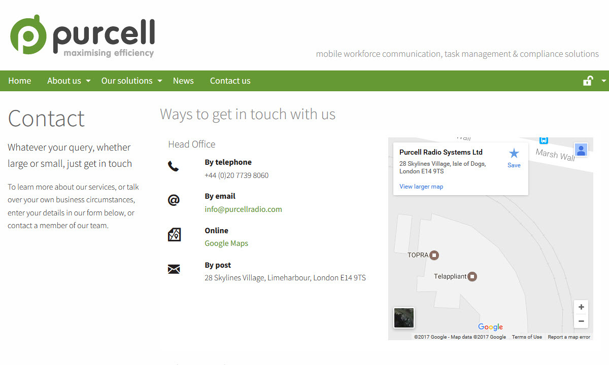 Purcell Radio - Screenshot showing the design of the contact page.