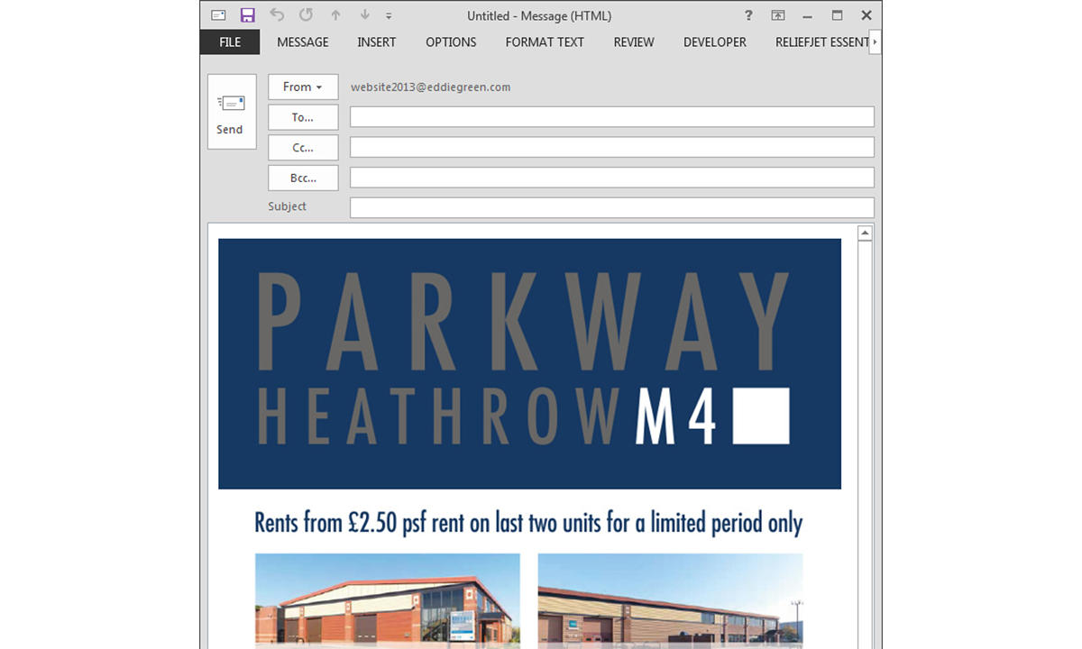 Parkway Heathrow Email - Email as shown in Microsoft Outlook