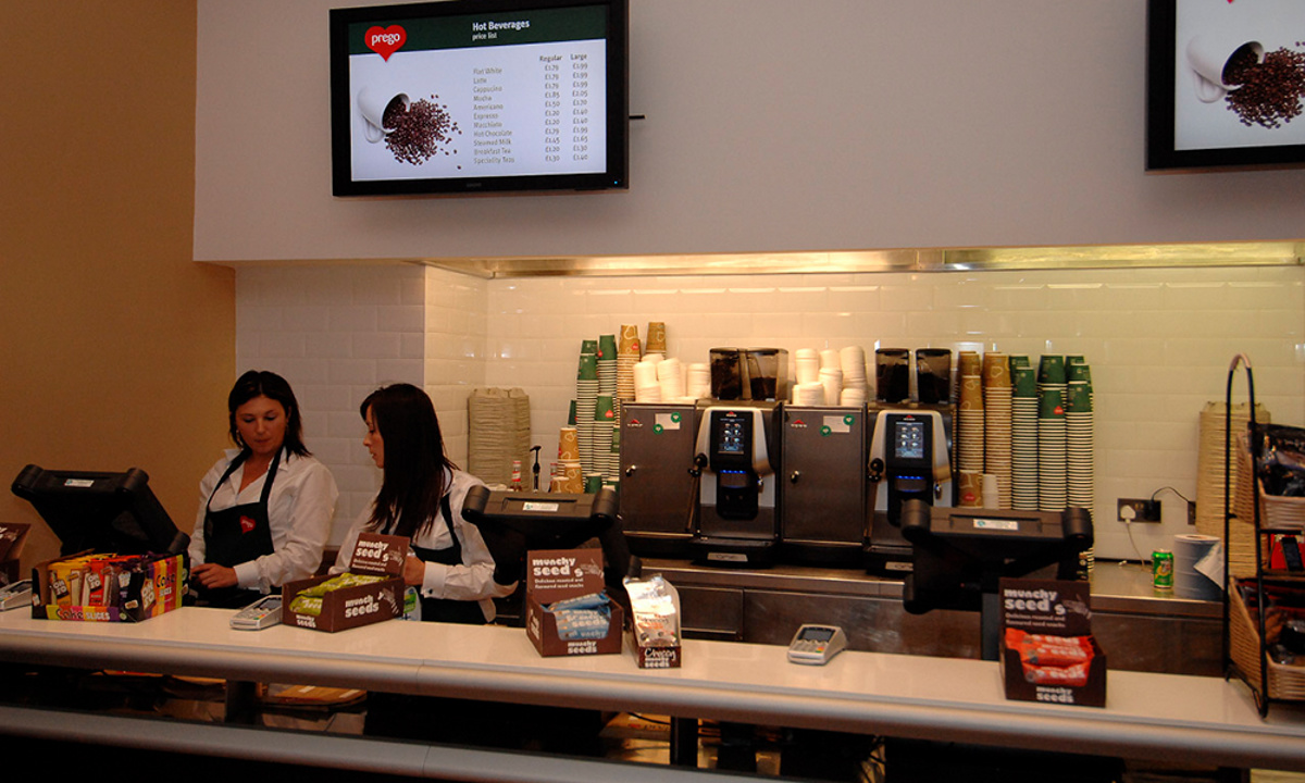 Prego - Cannon Street Store - Store opening day - Front counter and menu boards