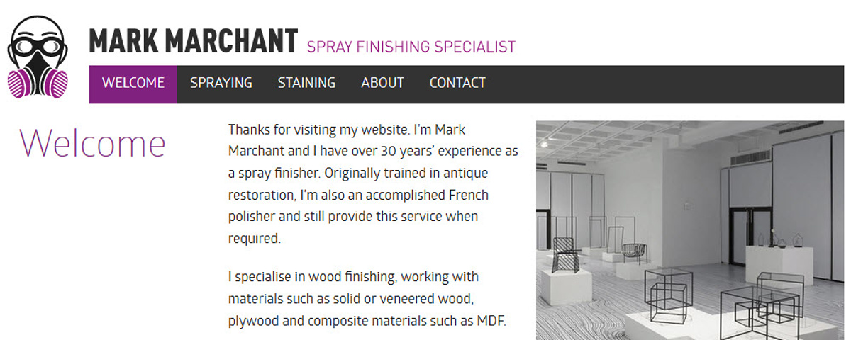 Mark Marchant - Screenshot of the home page showing branding design and the overall theme of the site