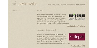David Waller - Screenshot of David Waller's 'Links' page showing the consistency of style applied throughout the site using master pages and style sheets to control size, colour and position of all elements.