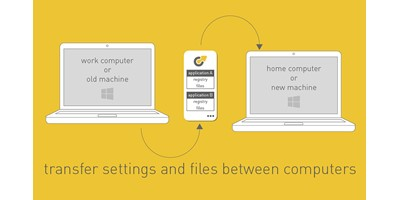 Bailout Backup - One of the graphic panels created for the feature tour on the home page. Following the house style of either yellow or grey panel backgrounds, with lightweight and simplified message, in this case line-drawn representations of two laptops with arrow signifying the flow of information between them, The caption reads 'transfer files and setting between computers'
