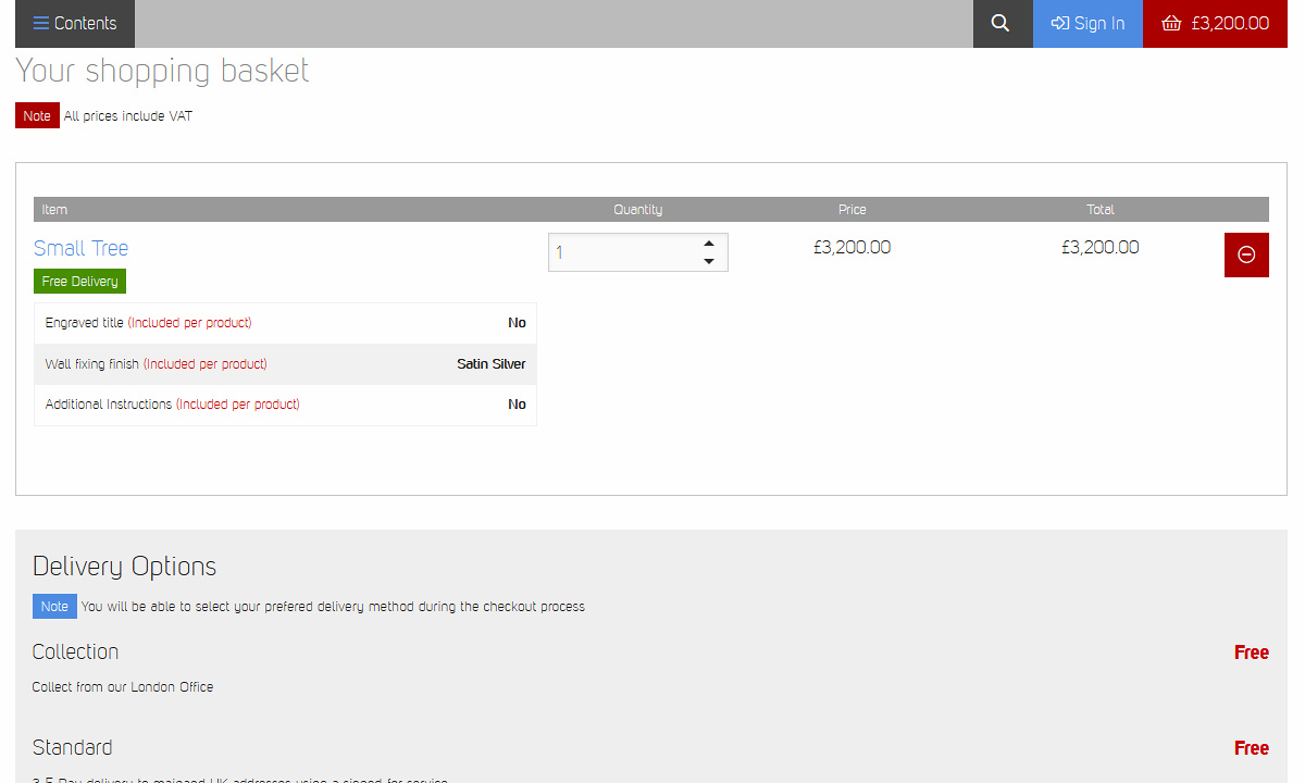 Fundraising Tree - Page showing editing features for products in users basket, including details about any customisations.