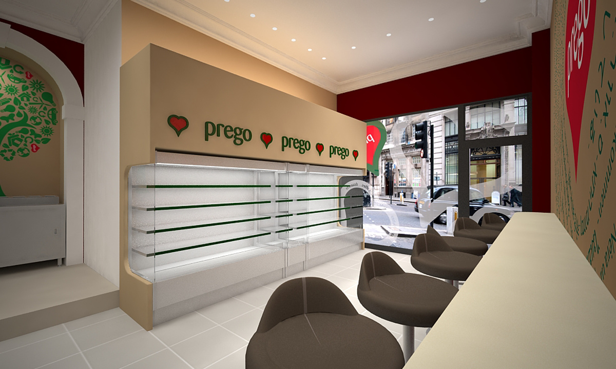 Prego - Cannon Street Store - Internal render showing chiller cabinets, seating and front window