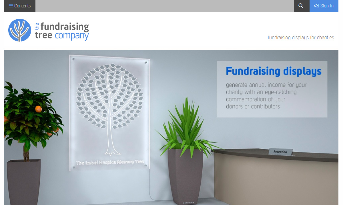 Fundraising Tree - Screenshot of the home page showing branding design and the overall theme of the site