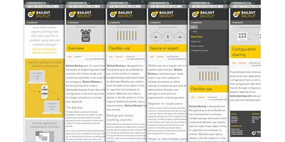 Bailout Backup - A series of screenshots showing the content of several pages, reformatted automatically by internal code and style sheets to display perfectly on smaller screens.