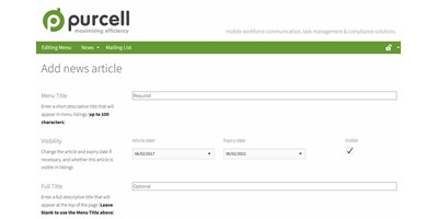 Purcell Radio - A custom back-end database holds updateable information for news and mailing lists -this management page allows editors to add news including video and images using a WYSIWIG editor