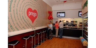 Prego - Cannon Street Store - Store opening day - Counter and feature wall