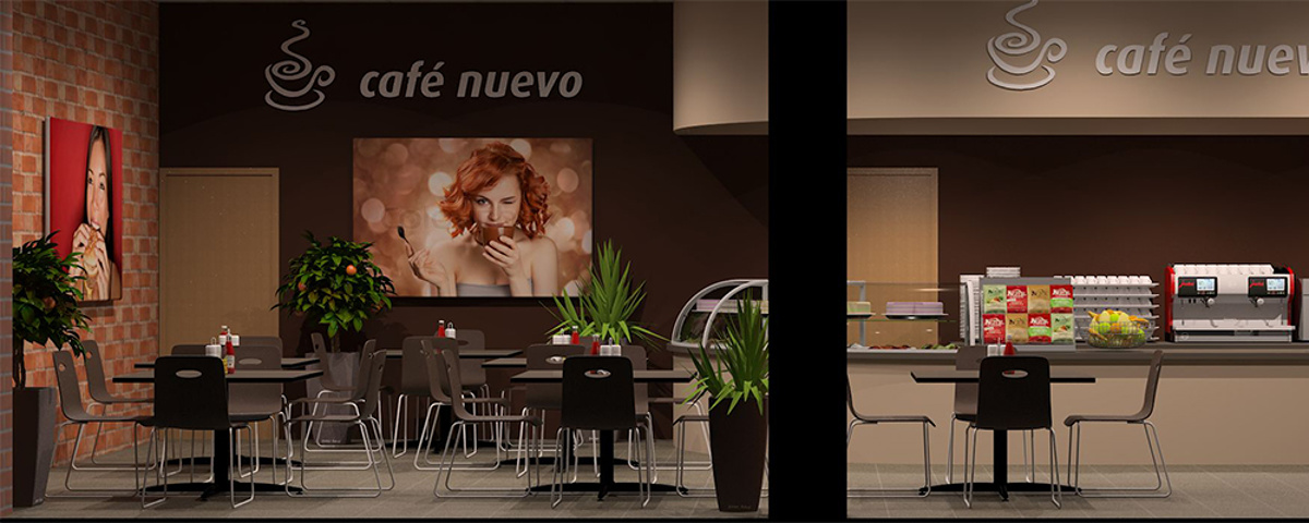 Storefront visualisation - 3D generated image showing design of planned cafe
