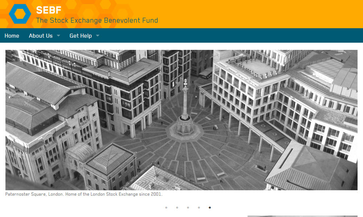 Stock Exchange Benevolent Fund - The home page with masthead branding and theme, reflecting the shape of trading desks on the floor of the stock exchange up to the early '90's