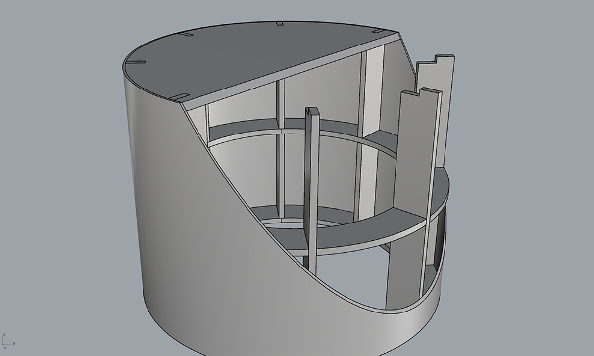 Round Pedestal Manufacture - Cutaway of one of the pedestals showing design