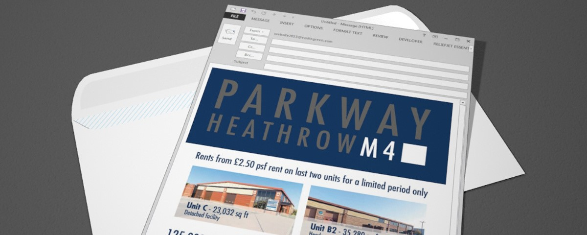 Parkway Heathrow Email - Rendered visualisation of the finished e-mail in Outlook client
