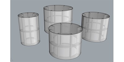 Round Pedestal Manufacture - Four pedestals of different sizes showing construction