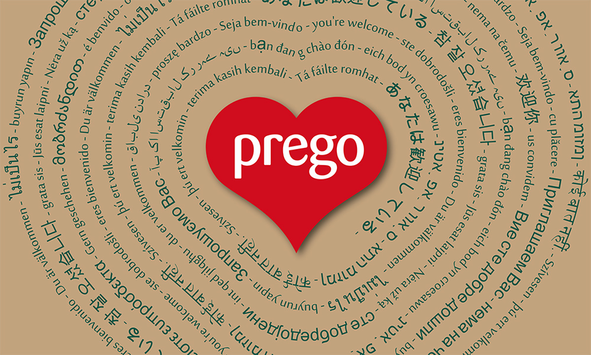 Prego branding - Feature wall graphic