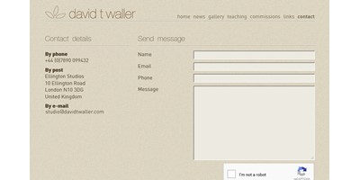 David Waller - Screenshot of the contact form on the site. Email details were hidden from robots, and a custom designed back-end handles routing of messages on the site.