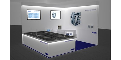 RBS Mannheim Exhibition Stand - Racing Circuit - Final 3D render of model design - Left Side