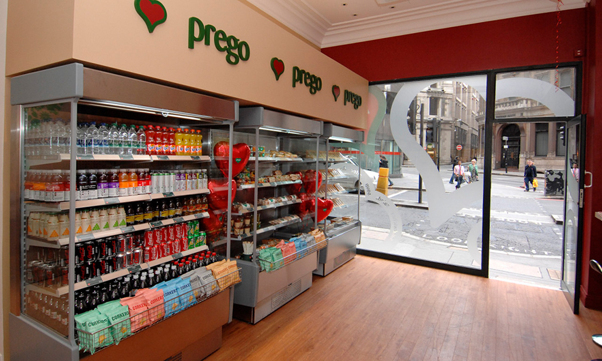 Prego - Cannon Street Store - Store opening day - Chiller cabinets and front window