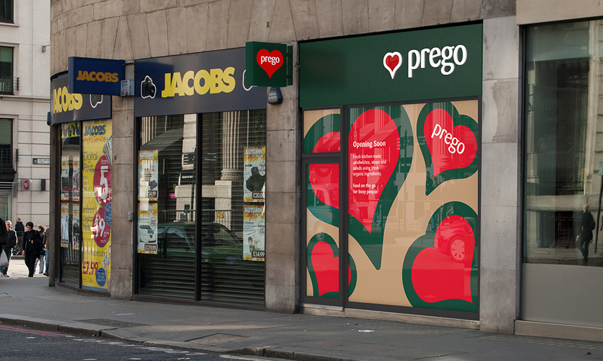 Prego - Cannon Street Store - Exterior render showing opaque window graphics to be installed while shopfitting