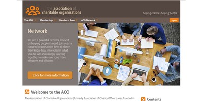 ACO Website - Screenshot of the home page showing branding design and the overall theme of the site