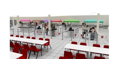 London 2012 Olympic Press Centre - View of the checkout area for the main servery on the first floor