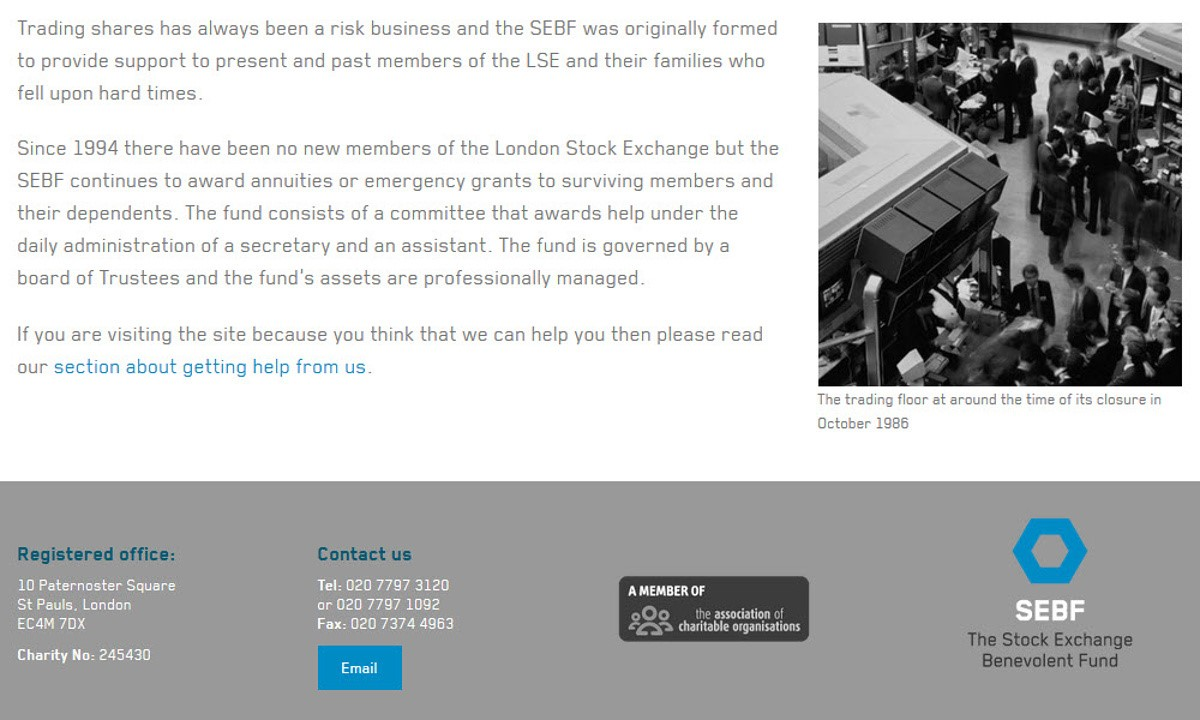 Stock Exchange Benevolent Fund - Screenshot of page content showing typeface and styles applied, along with the page footer design