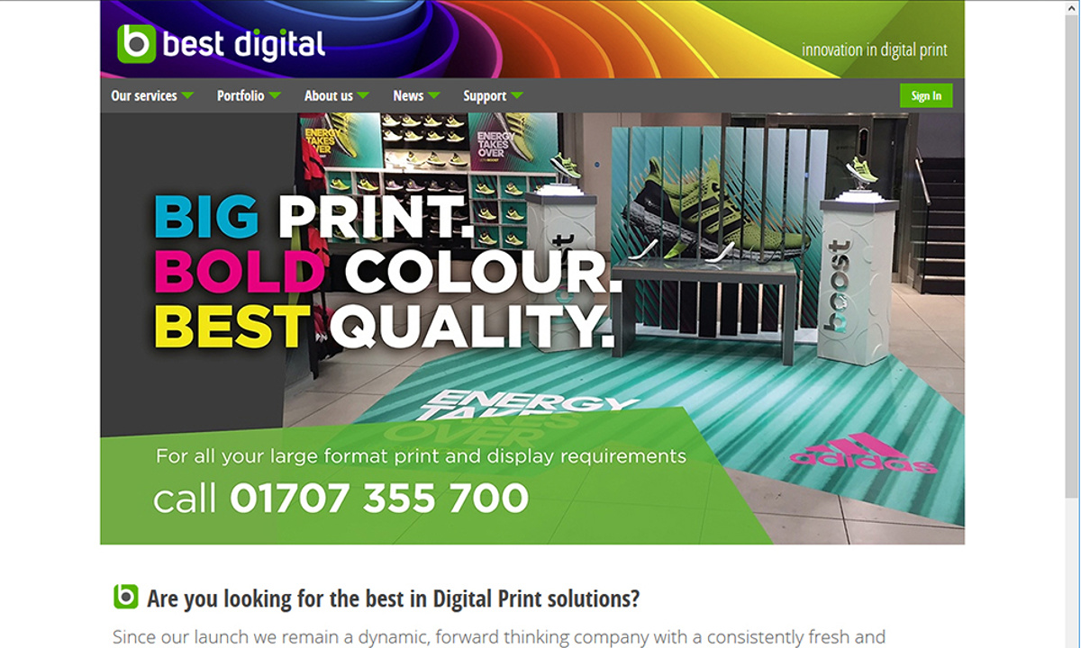 Best Digital - Screenshot of the home page, featuring the colourful theme reflecting the organisation's ability to print large and vibrant graphics