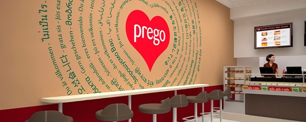 Prego - Cannon Street Store - Render showing counter and feature wall