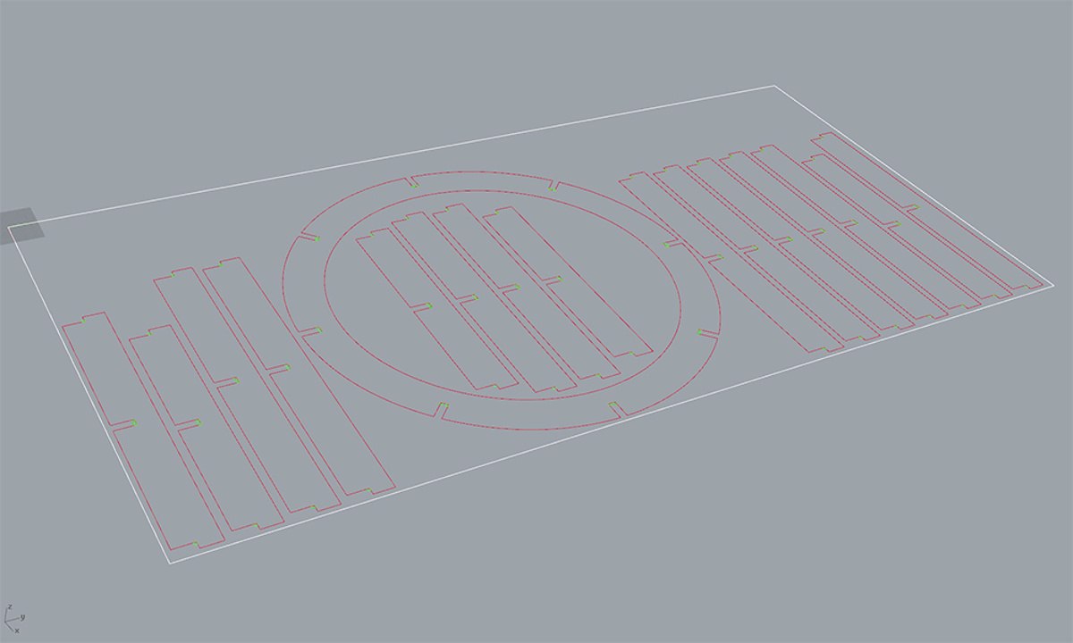 Round Pedestal Manufacture - One of the final 8'x4' sheets sent to CNC router showing nested items