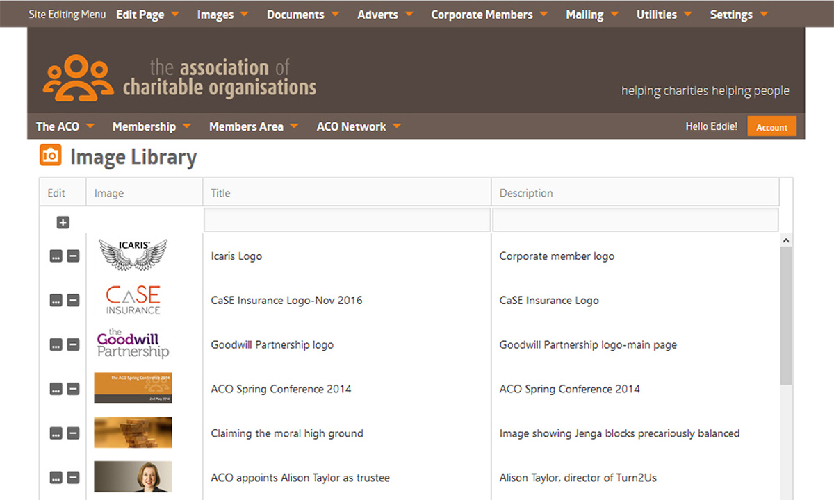ACO Website - Screenshot showing searchable catalogue of images held in the site's database together with alternative text and descriptions used when delivering page content