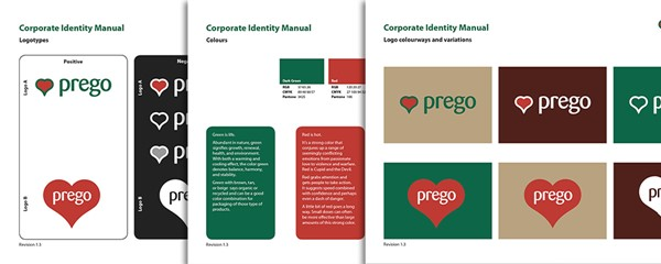 Prego branding - Logo designs and colour schemes, forming part of the branding guidelines