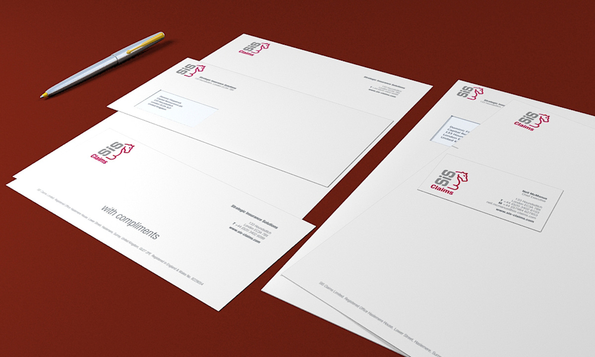 SIS Claims - Branded stationery items including letterhead and business cards