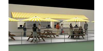 London 2012 Olympic Press Centre - Render of outside seating area and serving counter