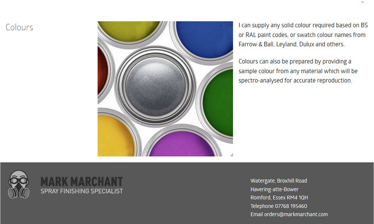 Mark Marchant - Screenshot of page content including the footer design