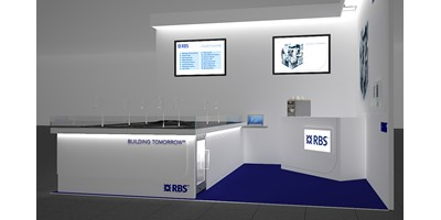 RBS Mannheim Exhibition Stand - Racing Circuit - Final 3D render of model design - Plinth detail