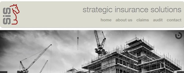 Strategic Insurance Solutions - Screenshot of the home page showing branding design and the look and feel of the site