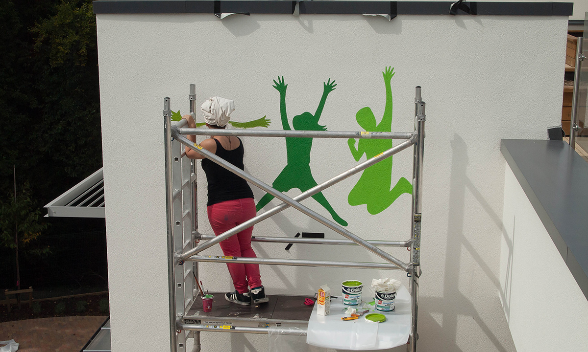 Lime Tree School Signage - Wall mural during works