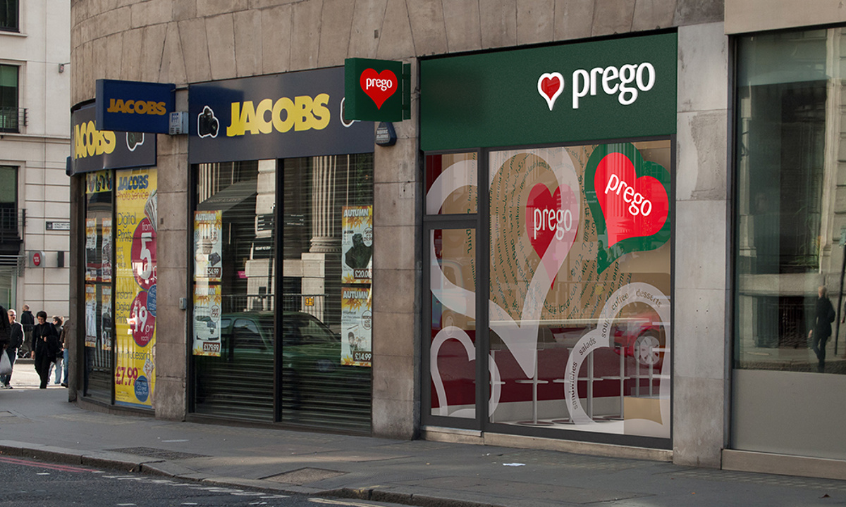 Prego - Cannon Street Store - Exterior render showing window graphics for the store when opened