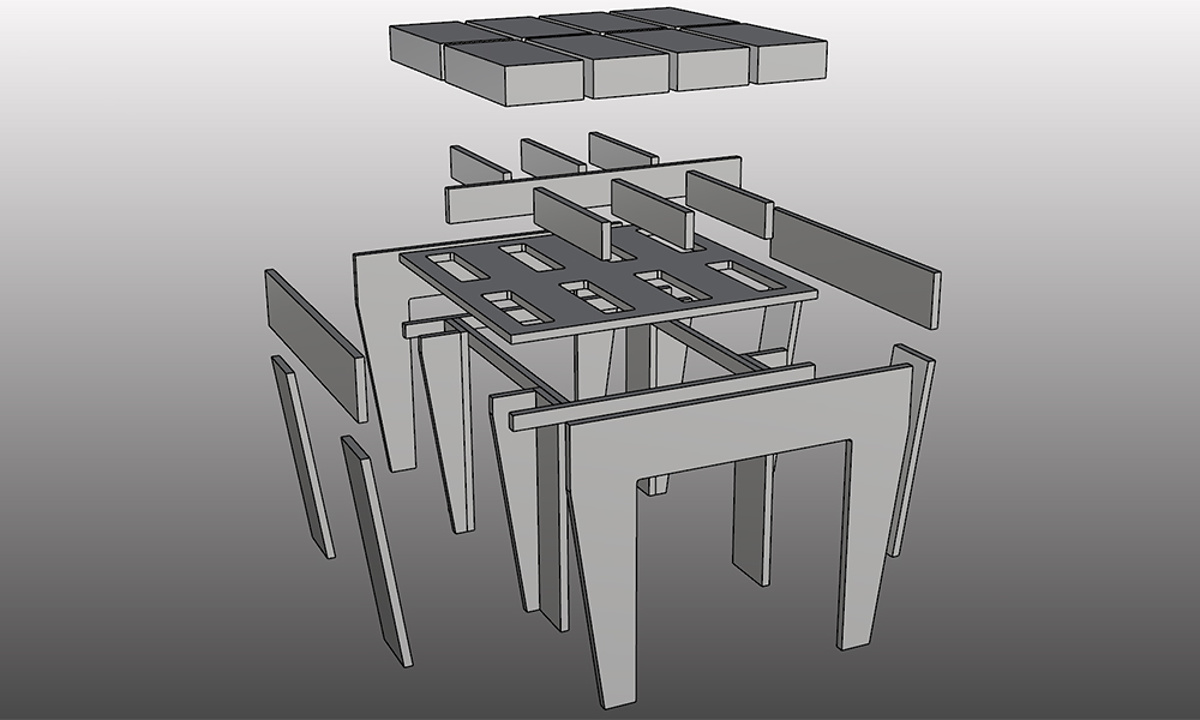 Sarah Lucas Furniture - H - Tall Table exploded view showing component parts