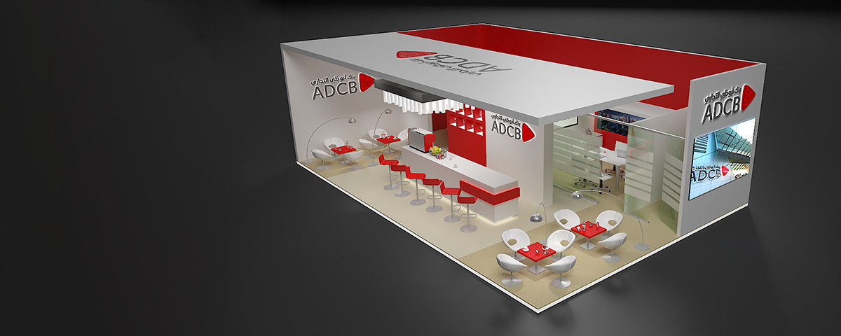 ADCB Exhibition Stand - Rendered perspective of the stand design as seen from first floor