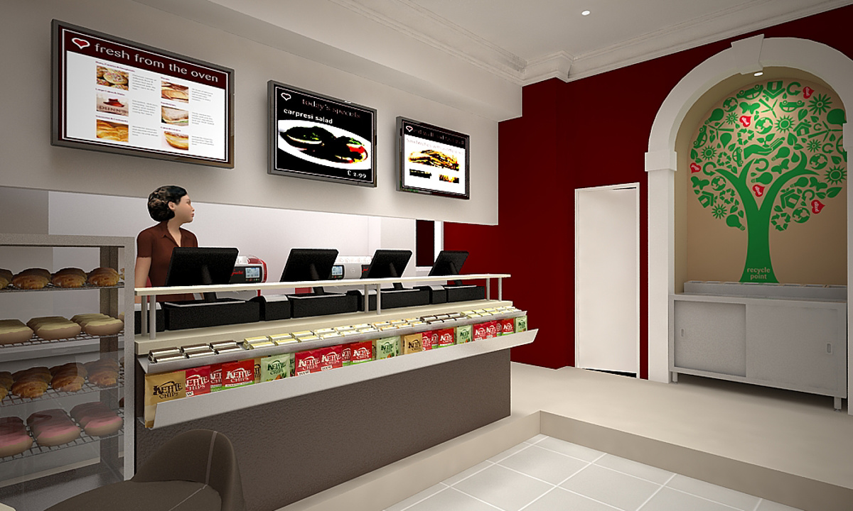 Prego - Cannon Street Store - Internal render towards the back corner of the shop, detailing the condiment and recycling area
