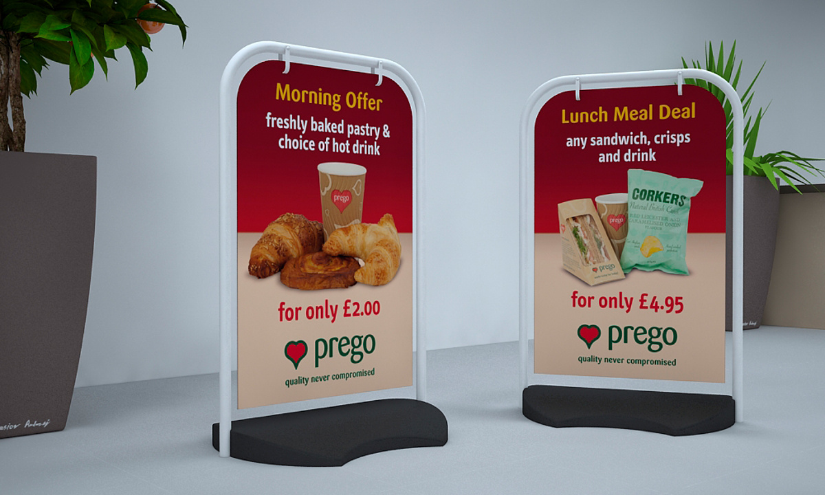 Prego branding - Pavement swing signs