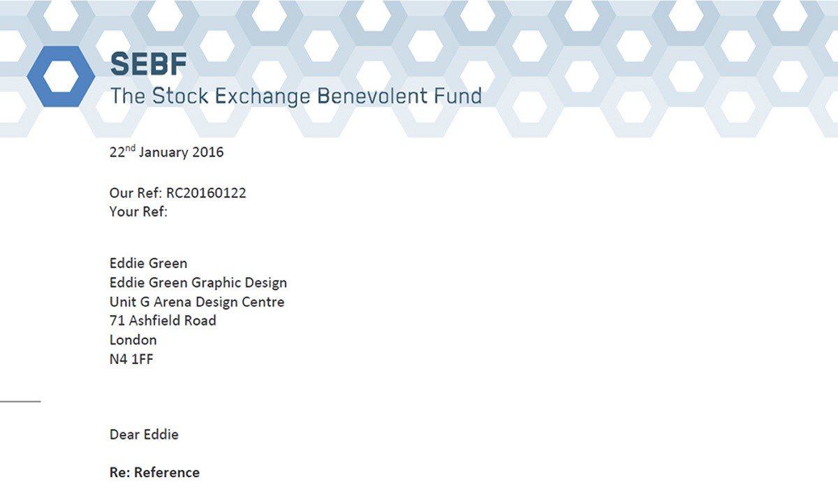 Stock Exchange Benevolent Fund - A Word template showing branding design applied to stationery
