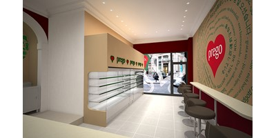 Prego - Cannon Street Store - Internal render with a wide view of the front area of the shop
