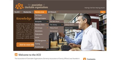 ACO Website - Screenshot of the desktop site menu, created from the catalogue of pages on the site