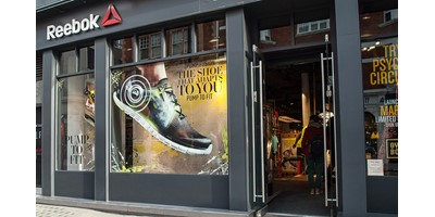 Reebok Pump Window Display - Window display at Covent Garden branch showing illuminated rings